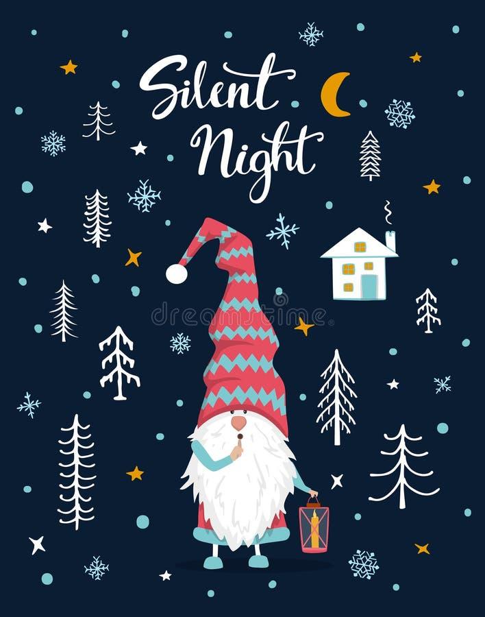 Stille Grußkarte Nachthandgeschriebene Hand gezeichnete Weihnachtsfroher Weihnachten mit nettem Gnomen lizenzfreie abbildung