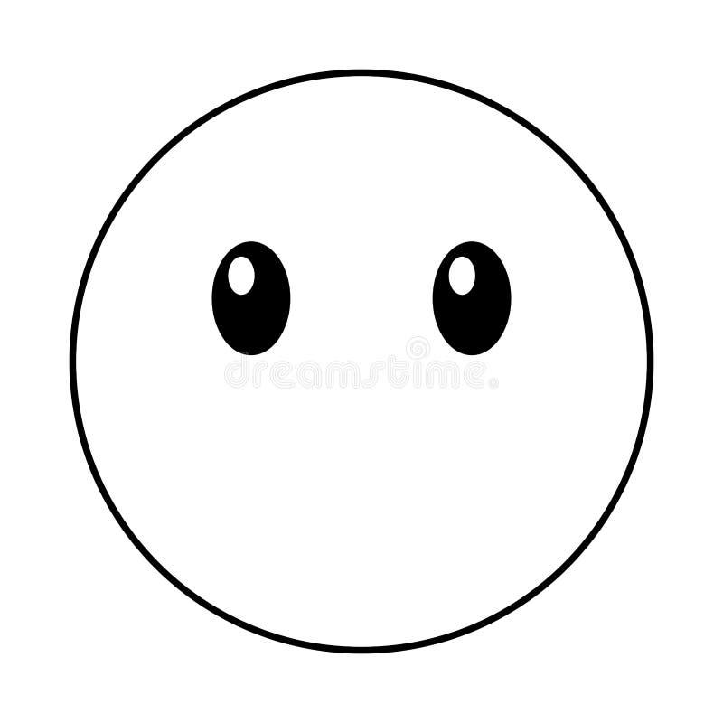 Stille kawaiistijl van het emoticongezicht royalty-vrije illustratie