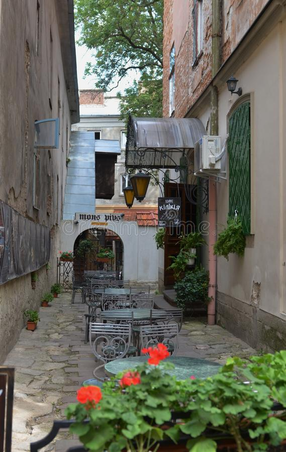 stille Lviv-straat royalty-vrije stock afbeeldingen