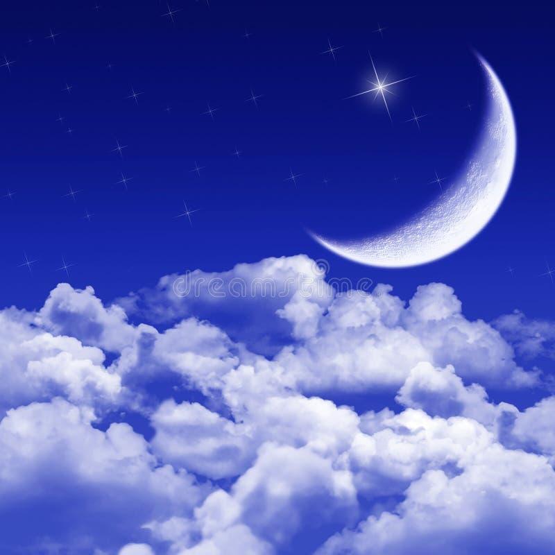 Stille nacht, maanbeschenen nacht stock illustratie
