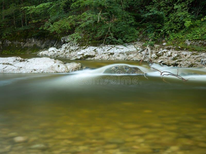Stille rivier Rettenbach in de zomer, lange blootstelling royalty-vrije stock afbeeldingen