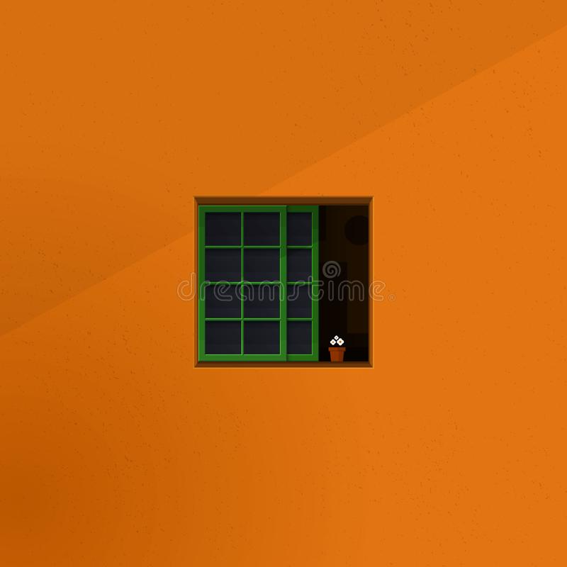 Stille ruimte gezien vorm buiten concept van de venster het minimalistische illustratie half geopend vierkant venster met bloempo royalty-vrije illustratie