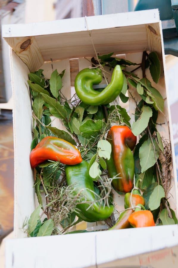 Stilleben av nya grönsaker och kryddor på sugrörmats royaltyfria foton