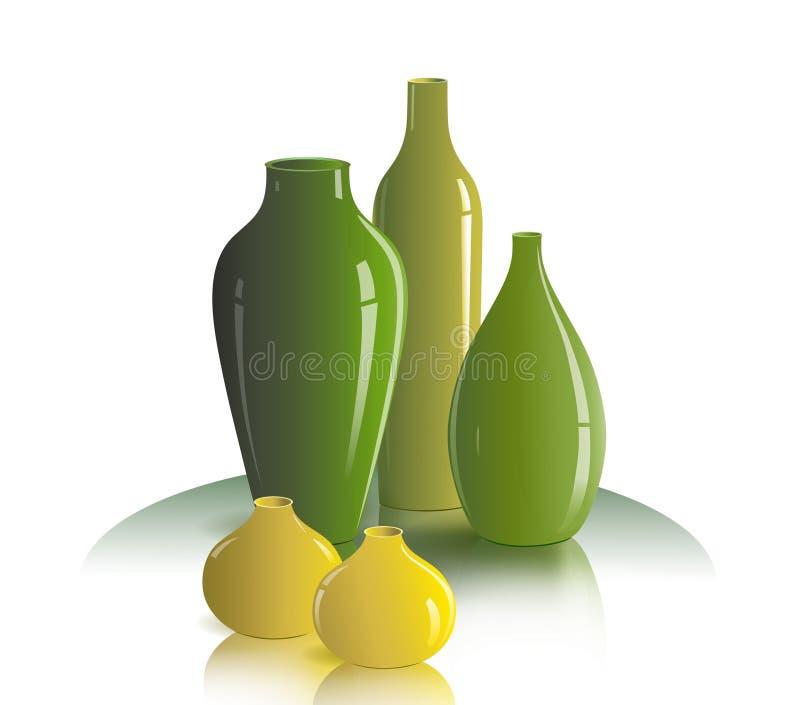Stilleben av vaser stock illustrationer