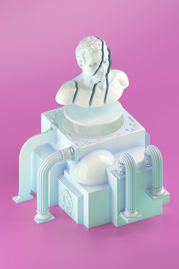stilleben 3d med den splittrade panka statyn och enkla kubikformer vektor illustrationer