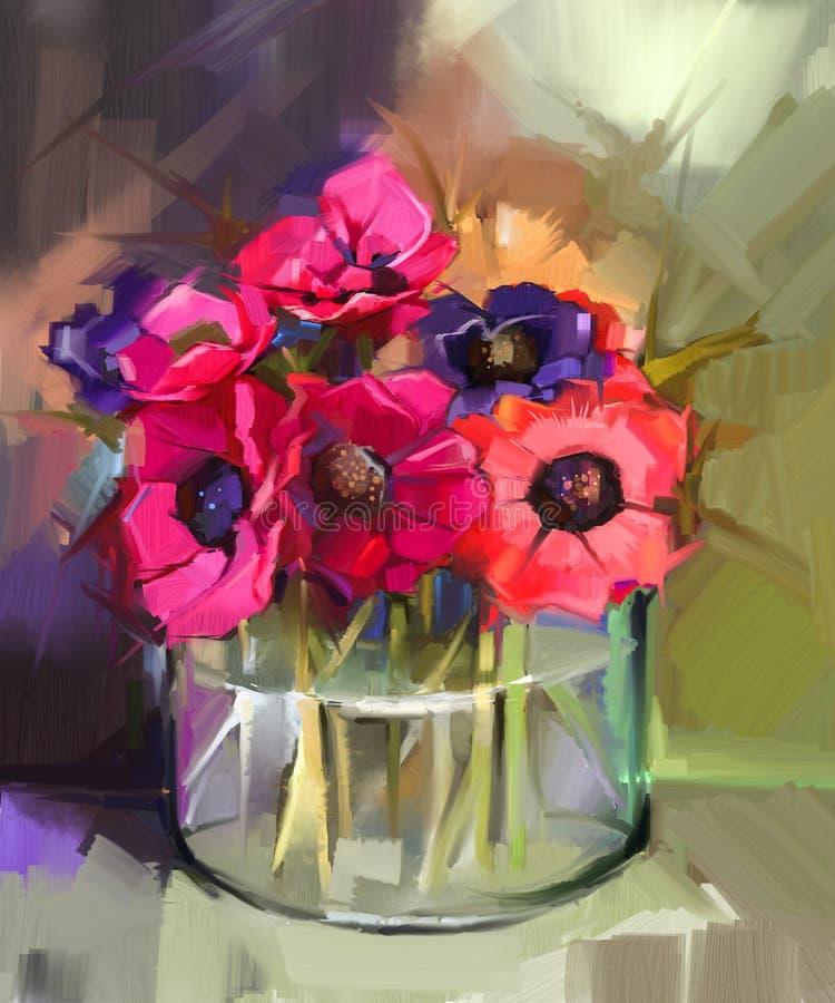 Stilleben en bukett av blommor Röd anemonblomma för olje- målning vektor illustrationer