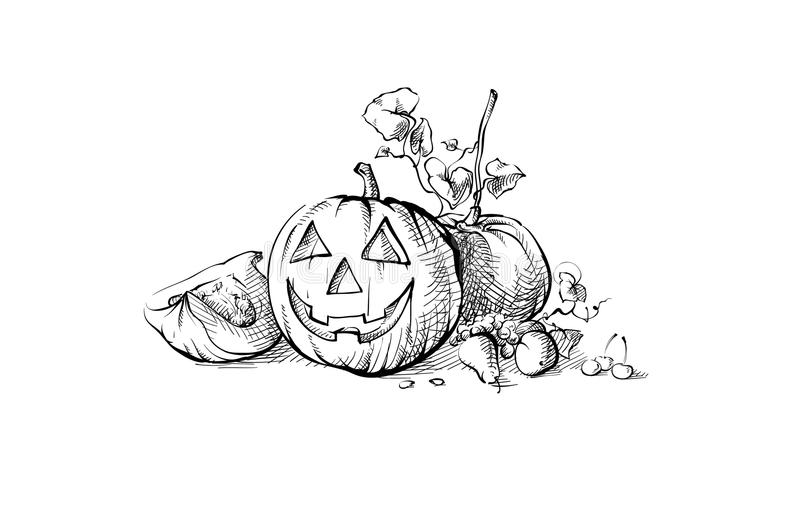 Stilleben för Halloween symbolpumpa stock illustrationer