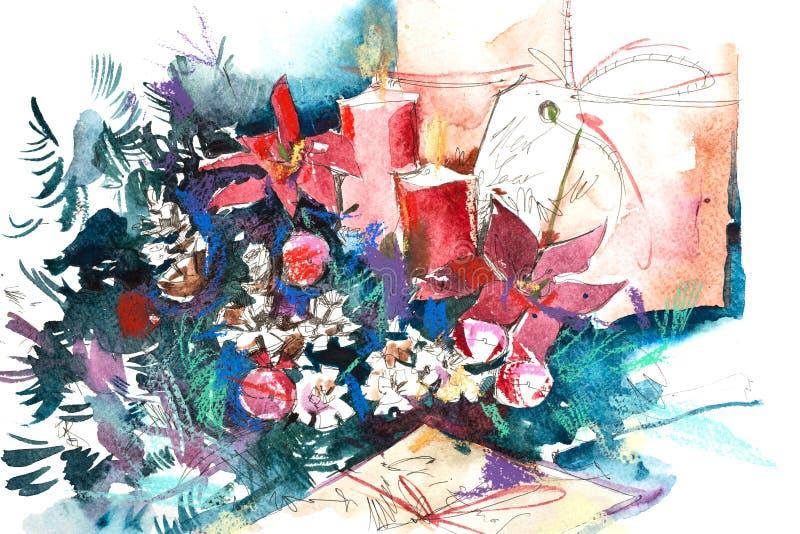 Stilleben för jul för nytt år för vattenfärgvinter stock illustrationer