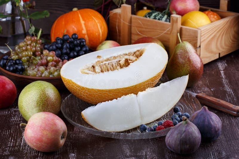 Stilleben från höstfrukter på mörk bakgrund Druvor melon, plommoner, päron, äpplen, fikonträd, pumpa arkivfoto