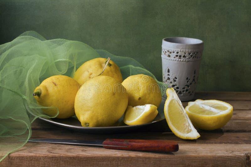 Stilleben med citroner och grönt flor royaltyfri fotografi