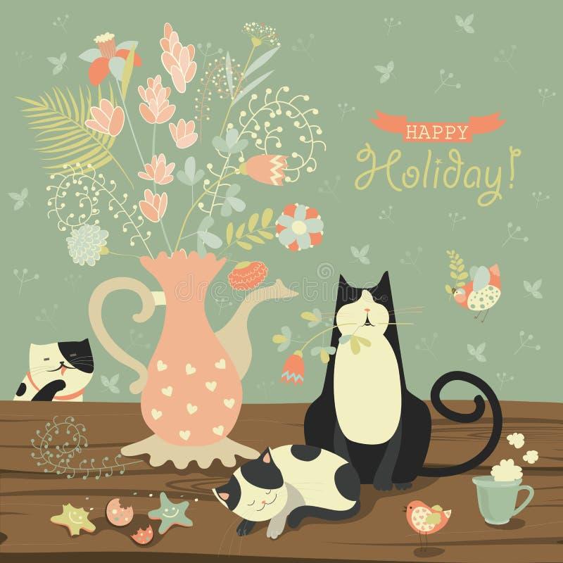 Stilleben med en bukett av blommor och katter stock illustrationer