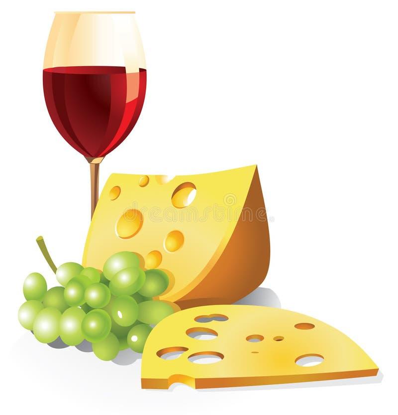 Stilleben med ett exponeringsglas av rött vin, druvor och ost stock illustrationer