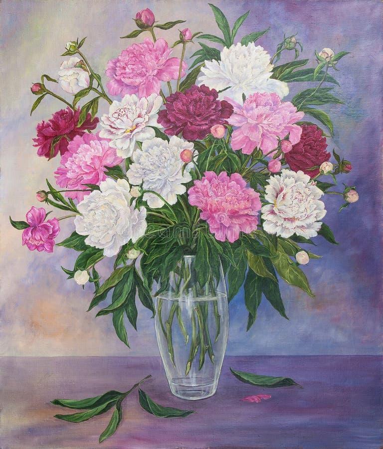 Stilleben med härliga rosa och vita pioner i exponeringsglasvas originell målning för olja stock illustrationer