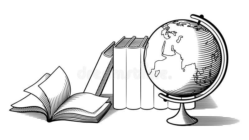 Stilleben med jordklotet och böcker Svartvit vektorillustration stock illustrationer