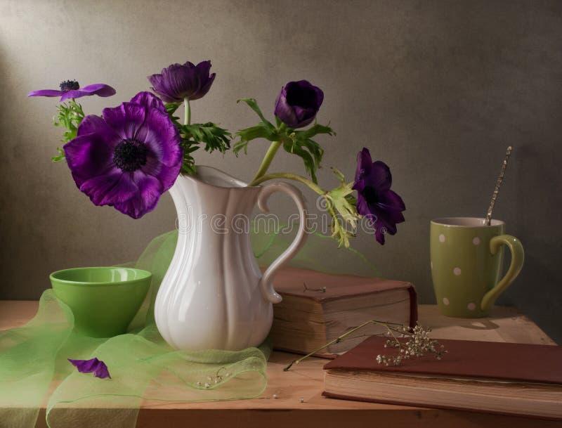 Stilleben med purpura anemonblommor arkivbild