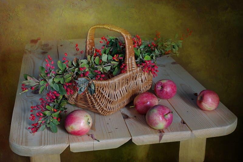 Stilleben med r?da vinb?r, l?sa blommor som isoleras p? brun bakgrund B?rplommon, vinb?r och blommor p? tabellen arkivbilder