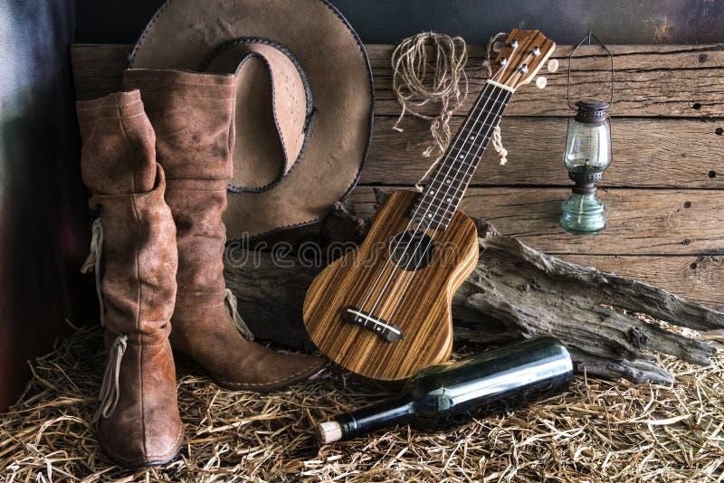 Stilleben med ukulelet i ladugårdstudio arkivbild