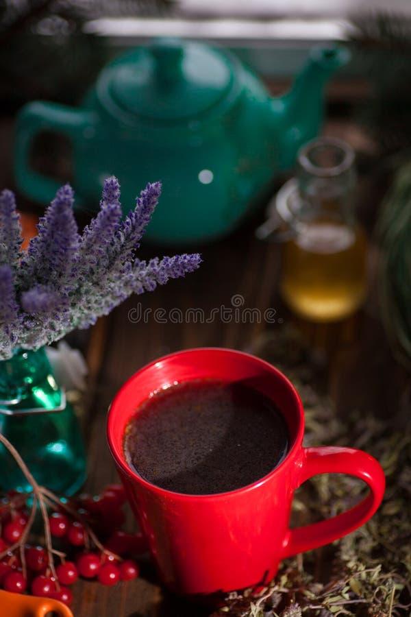 Stilleben med viburnumte på säckvävservett, på träbakgrund royaltyfri fotografi