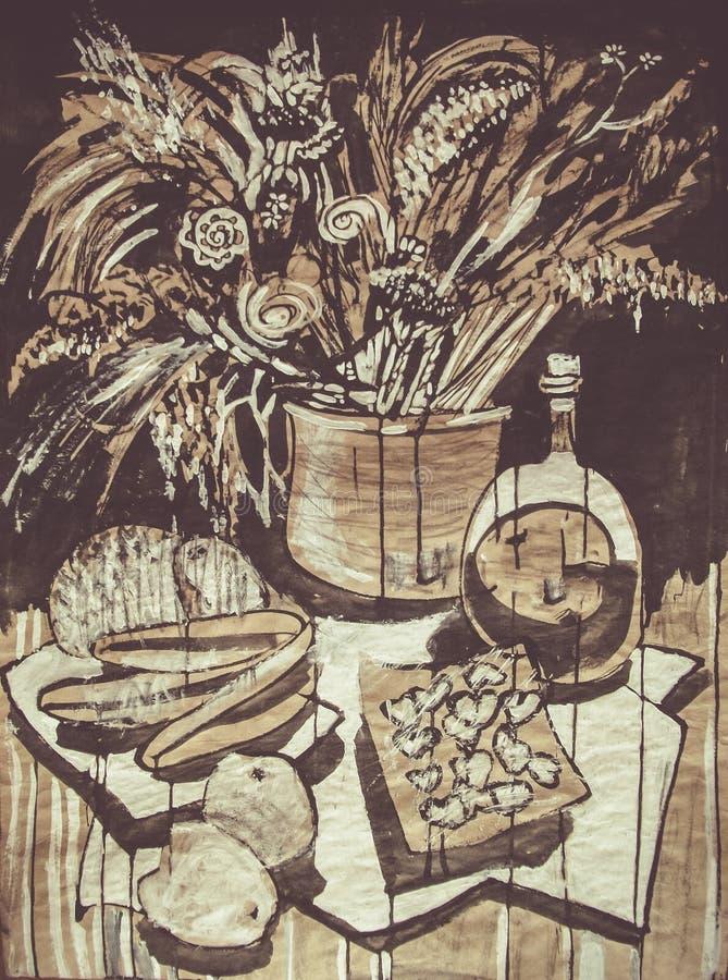 Stillebenmålningteckningen av stiliserade flaskor och annan anmärker fotografering för bildbyråer