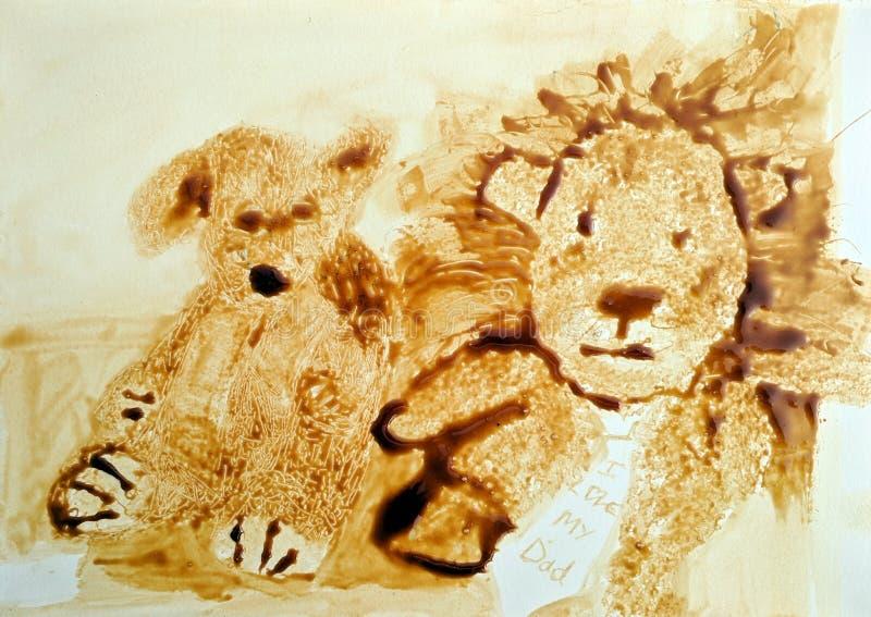Stillebenmatmålning av mjuk leksaker stock illustrationer