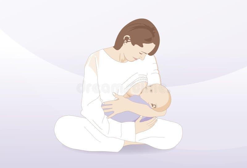 Stillen eines neugeborenen Kindes vektor abbildung