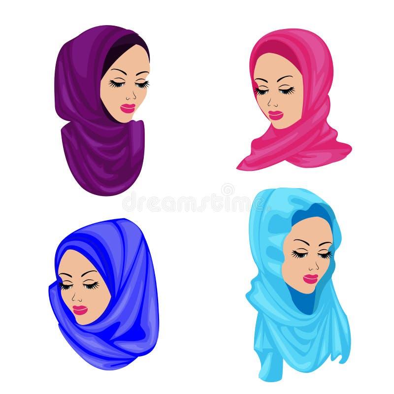 Stiller Kopf einer süßen Dame ansammlung Auf den Mädchen gibt es einen traditionellen arabischen moslemischen weiblichen Kopfschm stock abbildung