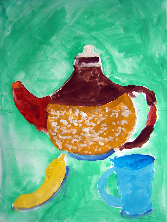 Stilleven door kind wordt geschilderd dat vector illustratie