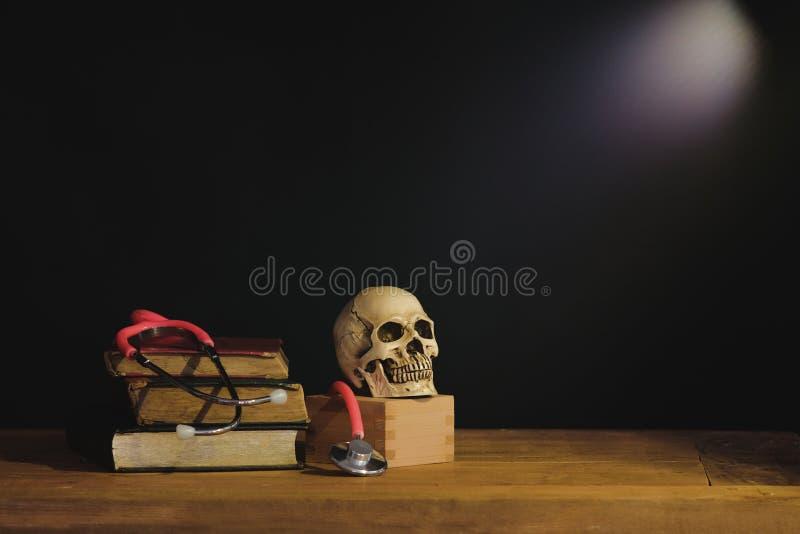 Stilleven het schilderen fotografie met menselijke schedel stock fotografie