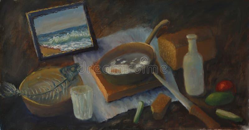 Stilleven het schilderen, glas, brood, tomaat, komkommer, een mes, een vis, een fles royalty-vrije illustratie