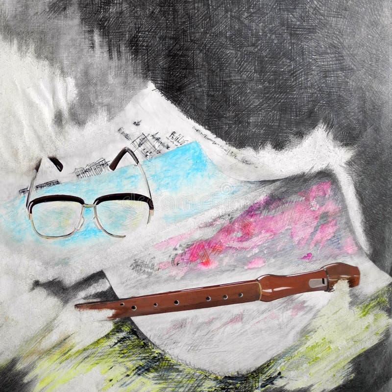 Stilleven het Schilderen - Muziek - Fluit en Glazen op Achtergrond royalty-vrije illustratie