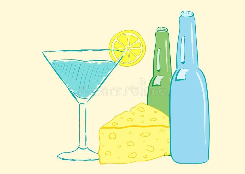 Stilleven met alcohol vector illustratie