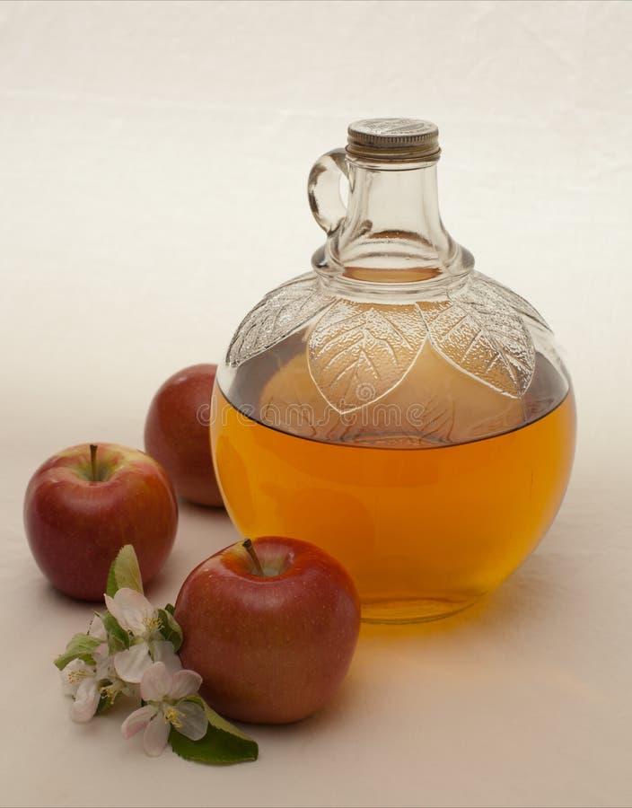 Stilleven met appelbloesems, appelen en cider stock foto