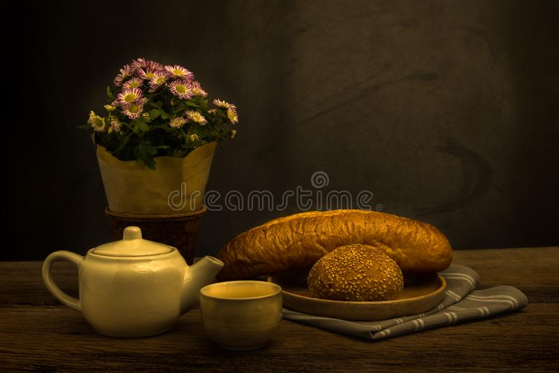 Stilleven met brood royalty-vrije stock fotografie