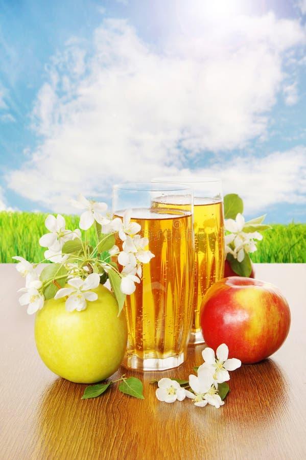 Stilleven met een glas verse appelsap en appelen royalty-vrije stock afbeeldingen