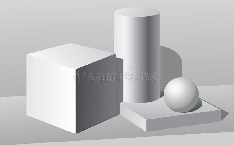 Stilleven met geometrische organismen stock illustratie