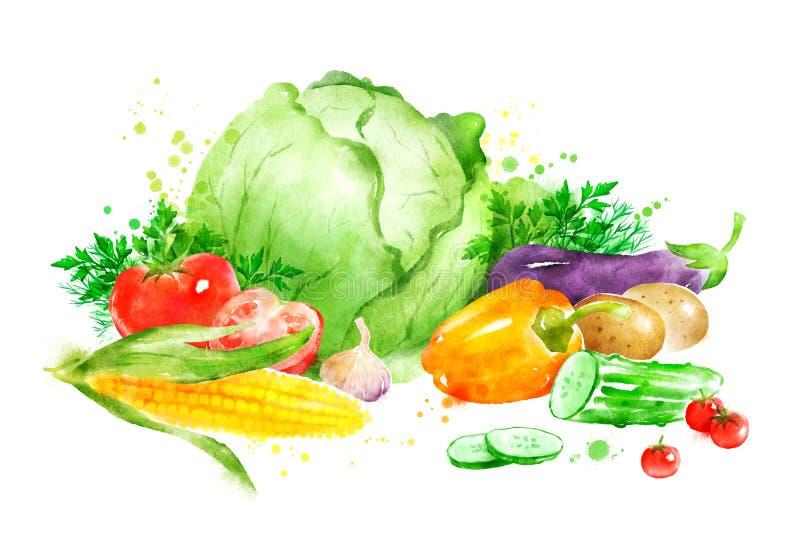 Stilleven met groenten stock illustratie