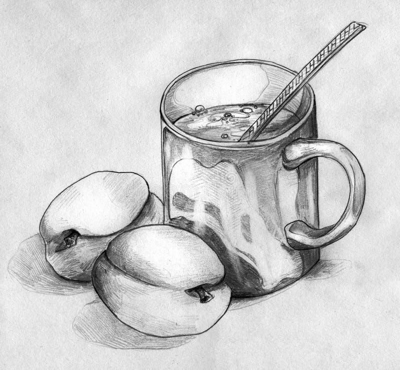 Stilleven met perziken en een mok koffie of thee vector illustratie