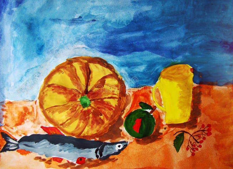 Stilleven met pompoen en vissen door kind wordt geschilderd dat stock illustratie