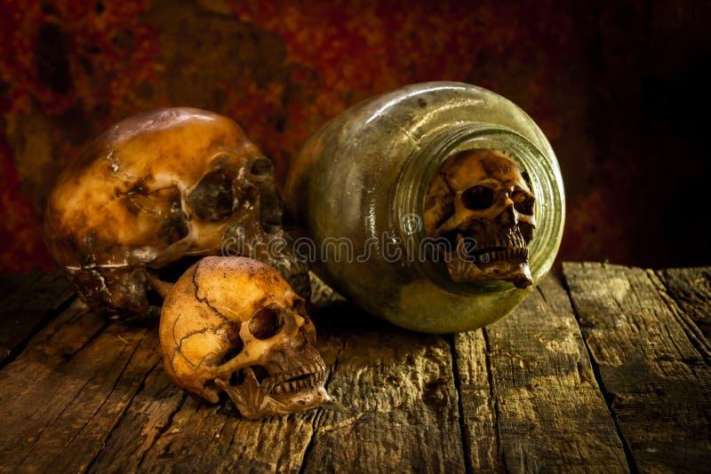 Stilleven met schedel en glaskruiken royalty-vrije stock afbeeldingen