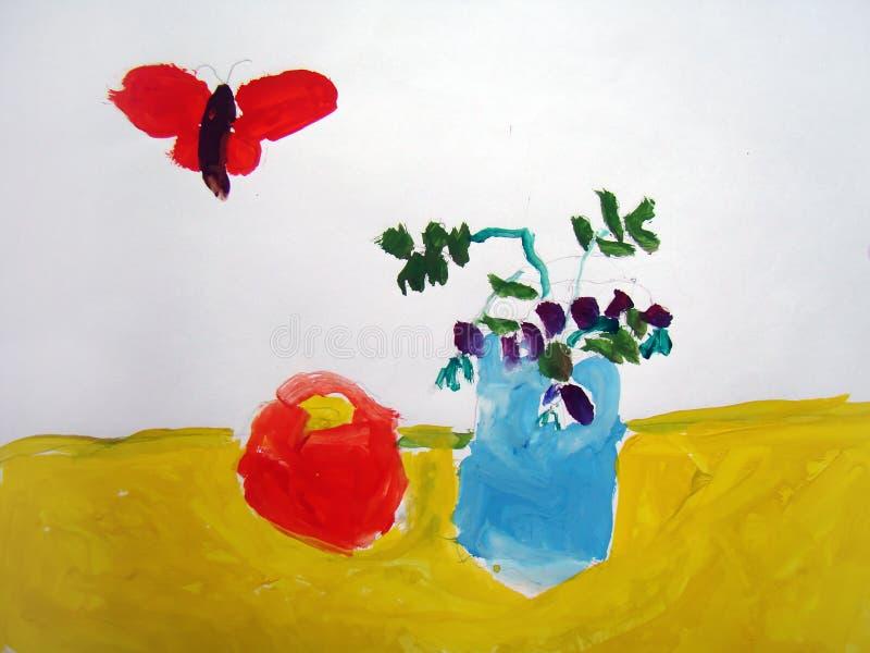 Stilleven met vlinder - door kind wordt geschilderd dat royalty-vrije illustratie