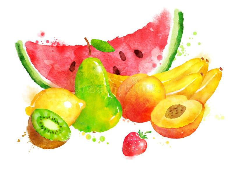 Stilleven met vruchten stock illustratie
