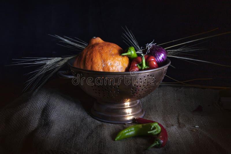 Stilleven 1 Oranje pompoen, rode en groene Spaanse peperspeper, purpere uien, en droge tarweringen in een metaalkop royalty-vrije stock foto's