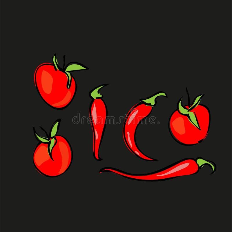 Stilleven 1 Rijpe tomaten, kersentomaten en hete peper Vector illustratie stock illustratie