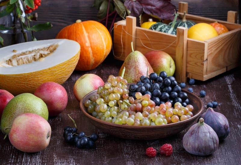 Stilleven van de herfstvruchten op donkere achtergrond Druiven, meloen, pruimen, peren, appelen, fig., pompoen royalty-vrije stock afbeeldingen