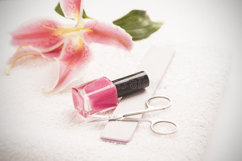 Stilleven van manicuremateriaal stock foto's