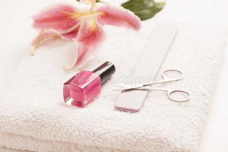 Stilleven van manicuremateriaal stock afbeelding
