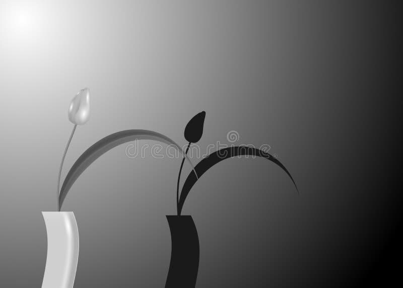 Stilleven van tulpen gietende schaduwen tegen helder grijs gekleurd achtergrond zwart-wit zwart-wit, vectormanierontwerp royalty-vrije illustratie