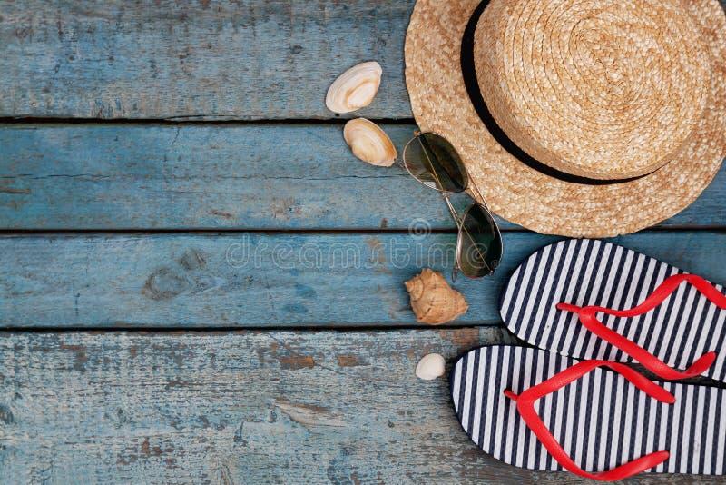 Stilleven van verschillende punten voor het ontspannen op het strand, rubber royalty-vrije stock afbeelding