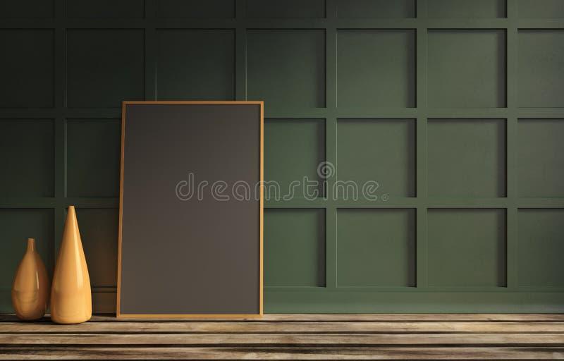 Stilleven van zwart affichemalplaatje voor presentatie royalty-vrije illustratie