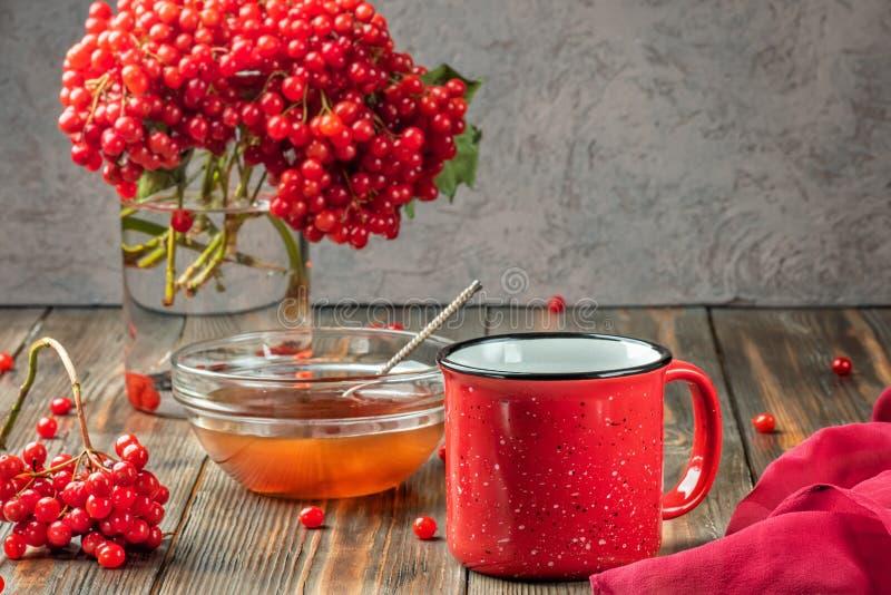 Stillevenbessen van een viburnum in een glas en een mok hete thee a stock foto's